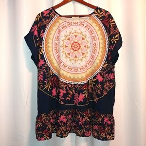 Artistic Works By Lu Floral Medallion Top Sz Small
